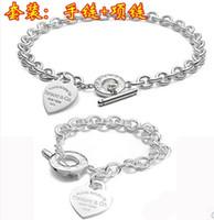 Wholesale Classic silver love Necklace Bracelet set Big brand silver heart necklace bracelets set silver jewelry set