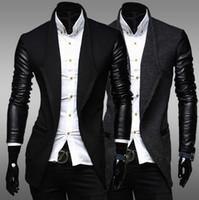 Lapel Neck leather jackets for men - man jacket men coat casual jacket baseball jacket jackets for men men sportswear leather sleeve knitting