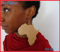 Ear Cuff Drop Earrings Earrings Free shipping 2014 HOT SALE good wood africa map earring for women ,can acceptable mixed color order SM-E006