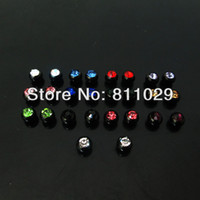 Wholesale OP Hot body jewelry parts mixed colors mm plated black gem crystal stone jewelry ball