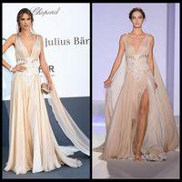 Model Pictures V-Neck Chiffon Alessandra Ambrosio 2014 Red Carpet Evening Dress Zuhair Murad Deep V-Neck Backless Celebrity Dresses