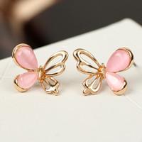 Wholesale No Min Order peut melanger l ordre l expedition cadeau libre de boucles d oreilles femmes Opal Batterfly Stud pour les femmes