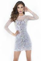 Meilleures ventes! 2016 Magnifique Mini Robes de cocktail Crystals ras du cou à manches longues Strass Perles Blanc courte robe de bal Robes Custom Made
