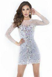 Wholesale Meilleures ventes Magnifique Mini Robes de cocktail Crystals ras du cou à manches longues Strass Perles Blanc courte robe de bal Robes Custom Made