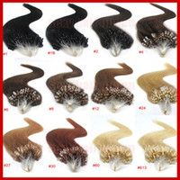 Wholesale quot quot quot quot g Colors Silicone Micro Ring Loop Hair Extensions Indian Remy Human Hair