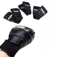 Wholesale Hot Selling MMA Boxing Gloves PU Leather Half Mitts Mitten Muay Thai Training Boxing Glove Golden Red White