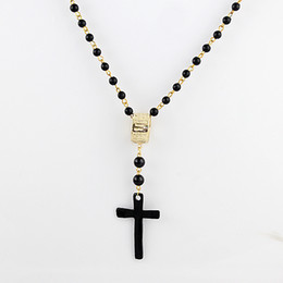 Wholesale Sopop Fashion Jewelry Alloy Black Beads Cross Pendant Necklace for Women