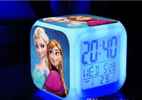 Wholesale New LED Colors Change Digital Alarm Clock Frozen Anna and Elsa Thermometer Night Colorful Glowing Clock free shpping DHL