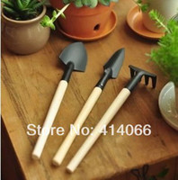 Wholesale 3pcs Mini Plant Garden Tools Set With Wooden Handle Gardening Tool Shovel Rake Drop Shipping