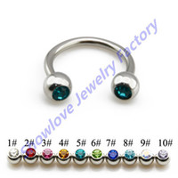 barbell belly earring - OP Showlove10pc Top Quality CZ Gem Ear Cartilage Tragus Earrings Circular Barbell Horseshoe Belly Rings Nipple Piercing14G