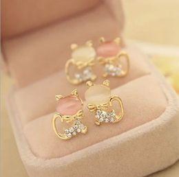 Wholesale Fashion Jewelry Women Cat s Eye Ear Studs Earrings Cute Cat Pattern Delicate Drill Eardrop Studs Fashion Earwear