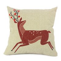 Eco Friendly Cotton Yarn Dyed 2014 New Square Cushion Cover Soft Red Deer Waist Pillow Case Bed Room Boster Case EHE25-3
