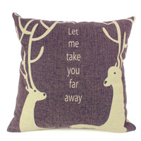 Cheap 2014 New Square Cushion Cover Soft Double Deer Waist Pillow Case Bed Room Boster Case EHE25-4