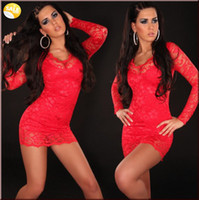 Reference Images Satin V-Neck Hot Sexy V-neck Long Illusion Sleeve Sheath Column Corset Red Lace Short Homecoming Dresses 2014 Cheap Lace Prom Party Dresses on Discount