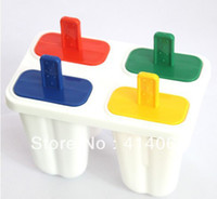 Ice Cream Tubs Plastic ECO Friendly Free shipping DIY Ice Cream Frozen 4Pcs Popsicle Maker Mold Icepop Block Icy Pole Lolly Set 0385#
