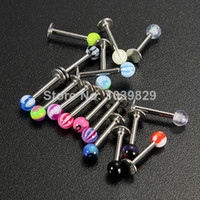 Wholesale OP Ball Lip Rings Bar Labret Stud Piercing Colorful Jewelley Stainless Steel Body Jewelry