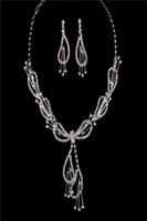 Jewelry Sets Crystal Rhinestone 2014 New Arrival Copper Wire Metal Diamond Crystals Necklace And Earring Bridal Jewelry Fashion Modern Wedding Events Bridal Accessories
