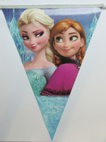 Wholesale frozen cartoon triangle paper printing banner bunting party decoration supplies cm