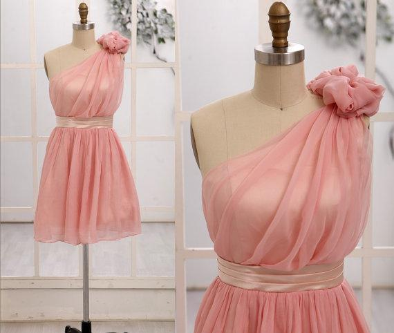 2014 One Shoulder Blush Pink Bridesmaid Dress Knee Length With ...