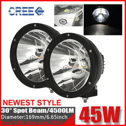 "2PCS 7"" 45W CREE LED Driving Work Light Off-Road SUV ATV 4WD 4x4 POWER Spot Beam 4500lm 9-30V JEEP Truck Wago Fog Headlamp Replace HID Black"