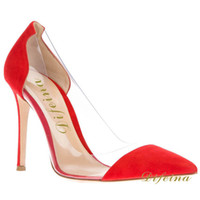 Wholesale Woman Single Shoes Red Pointed Toe Elegant Shoes Transparent Stitching Euramerican Style Deerskin Leather Shallow Mouth Stiletto Heel cm