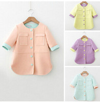 Coat Girl Spring / Autumn Children Coat Girl's Sleven Sleeve Long Coat Kids Clothing Outwear 4-Color Coat 5 Pcs lot J13AE6