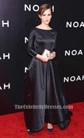 Wholesale Gorgeous and Lovely Emma Watson Black Long Sleeve Dress New York Premiere of Noah