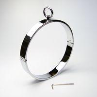 Wholesale Steel Ring Collar Bdsm - 2017 Latest Unisex Stainless Steel Neck Ring Collar Restraint Necklet Necklace Bondage Pins Locking Adult BDSM Sex Games Toy