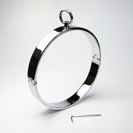 Wholesale 2017 Latest Unisex Stainless Steel Neck Ring Collar Restraint Necklet Necklace Bondage Pins Locking Adult BDSM Sex Games Toy