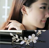 Wholesale Flower Shape Rhinestone Right Ear Cuff Clip Golden Earring Stud M1088