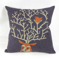 Eco Friendly Cotton Yarn Dyed 45*45cm Brand New Square Cushion Cover Cute Deer Waist Pillow Case Bed Room Boster Case EHE30-4