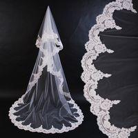Cheap One-Layer Bridal Veils Best Cathedral Length Lace Applique Edge long veil
