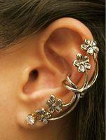 Wholesale Hot Sale Flower Ear Cuff Wrap Clip Earring Retro Crystal Silver Tone Punk M1089