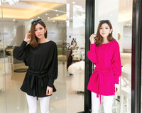 Crew Neck One Sleeve Long Sleeve 2014 new women autumn winter European style Lantern sleeves brand blouse PLUS SIZE XXXL solid color fashion casual clothes