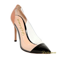 Cheap New Pointed Toe Gold Woman Single Shoes Transparent Black Brown Stitching Color Euramerican Style Patent Leather Shallow Mouth Stiletto Heel