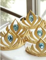 Wholesale Graceful Frozen Elsa Queen s Crown Cosplay Coronation Crown Headdress tiara gold yellow cm Accessories Princess Girls Head Pieces