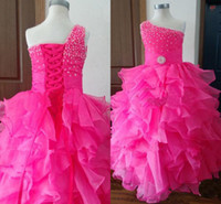 Reference Images Girl Beads Lovely One Shoulder Organza 2014 Flower Girl Dress Sleeveless Beaded Ball Gown High Quality Made In China New Girls Party Dress Pageant Gown