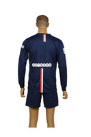 Wholesale Hight Quality PSG Blank Blue Uniforms Jerseys Soccer Jersey Home Kit Long Sleeve Jersey