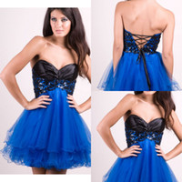 Reference Images Short/Mini Organza SG 2015 Hot Selling Short Party Dresses Organza Sweetheart Applique A Line Lace Up Sexy Blue Homecoming Dress Made In China Girl Prom Gowns