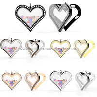 Wholesale magnetic glass floating heart living locket pendant L stainless steel