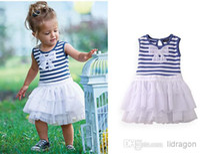TuTu Summer Pleated Wholesale - Kids Clothing Layered Dress Children Blue Stripe Dresses Baby Summer Dress Jumper Skirt Fashion Bowknot Princess Dress Girls Cut