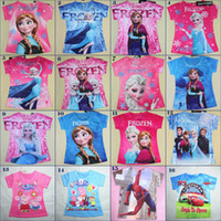 Wholesale Frozen Anna Elsa Tshirts Designs Sizes Y Cotton Short Sleeve Boy and Girls Baby Tshirt Clothing Outfits Sets Tank Tops