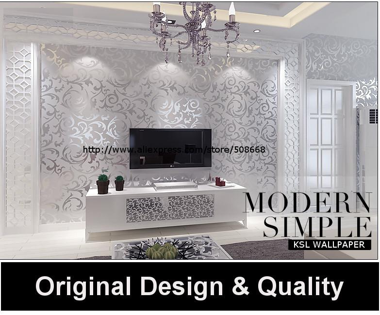Genuine victorian glitter wallpaper silver background wall wallpaper pvc roll wall papers home for Silver wallpaper living room