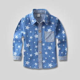 Wholesale 2014 Autumn clothing children full print five pointed star long sleeve shirts kids denim shirt boys casual cowboy shirt SM286