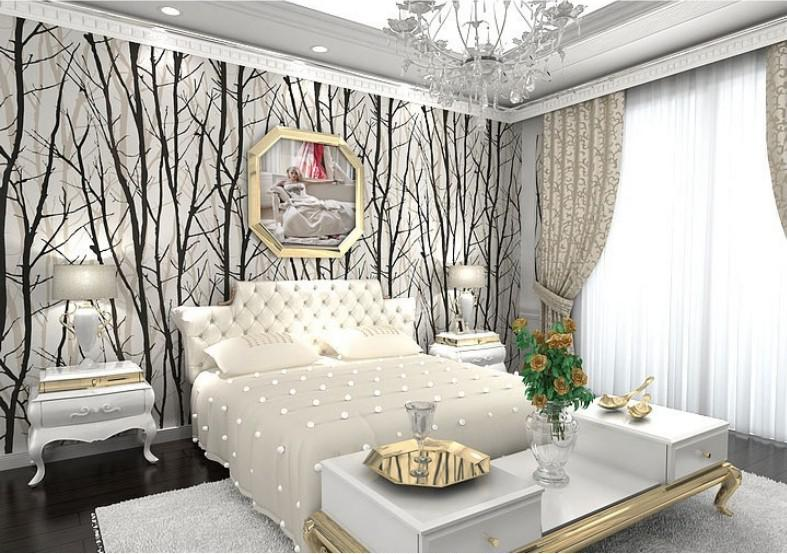 Abstract Tree Branches Wallpaper Roll 3d Modern Vinyl Wall Paper For Living Room Tv Background Wall Home Decor White Woods Wp222