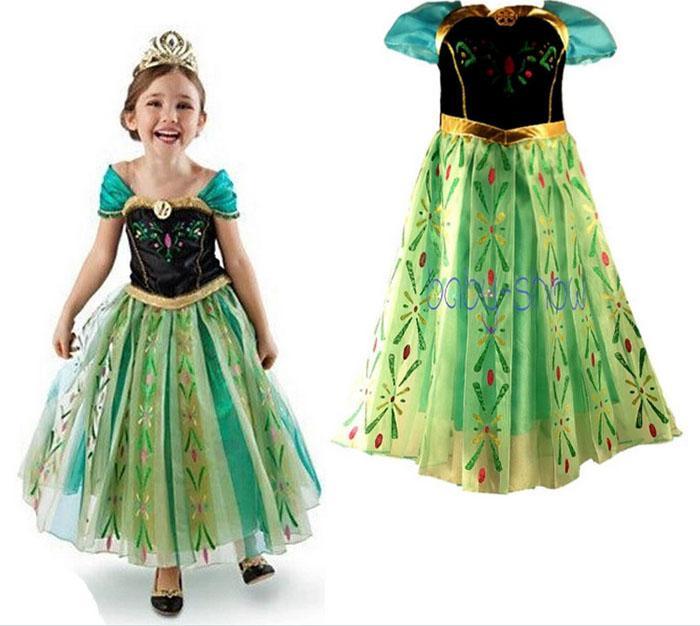 2017 Frozen Pretty Girls Dress Princess Anna Elsa Skirt Summer ...