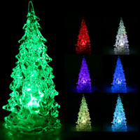 Yes lights tree ornaments - Cool Christmas Halloween Tree Ornament Acrylic Crystal Colorful Mini Changing LED night light lamp Decoration Kids Gift with retail box