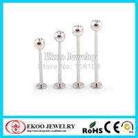 Wholesale OP L Surgical Steel Cheek Piercing Extra Long Labret with CZ Gem Labret Piercing