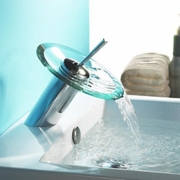 Wholesale Hot sale The waterfall basin faucetRound glassbasin that wash a face basin of hot and cold water tap faucet