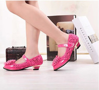 Wholesale Princess Big Children Leather Shoes Girls Plus Size Bowknot Pearl Lace Dancing Perform High Shoe PU Glitter Pink Rose White for T K0600